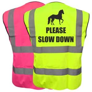 Horse Riding Hi Vis Vests, Pink or Yellow Option