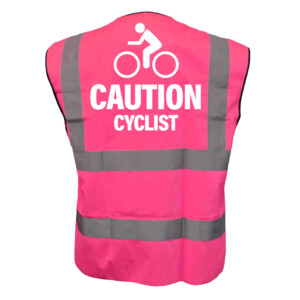 Cycling Pink Hi Vis Vests with White Text