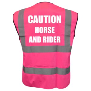 Horse Riding Pink Hi Vis Vest With White Text